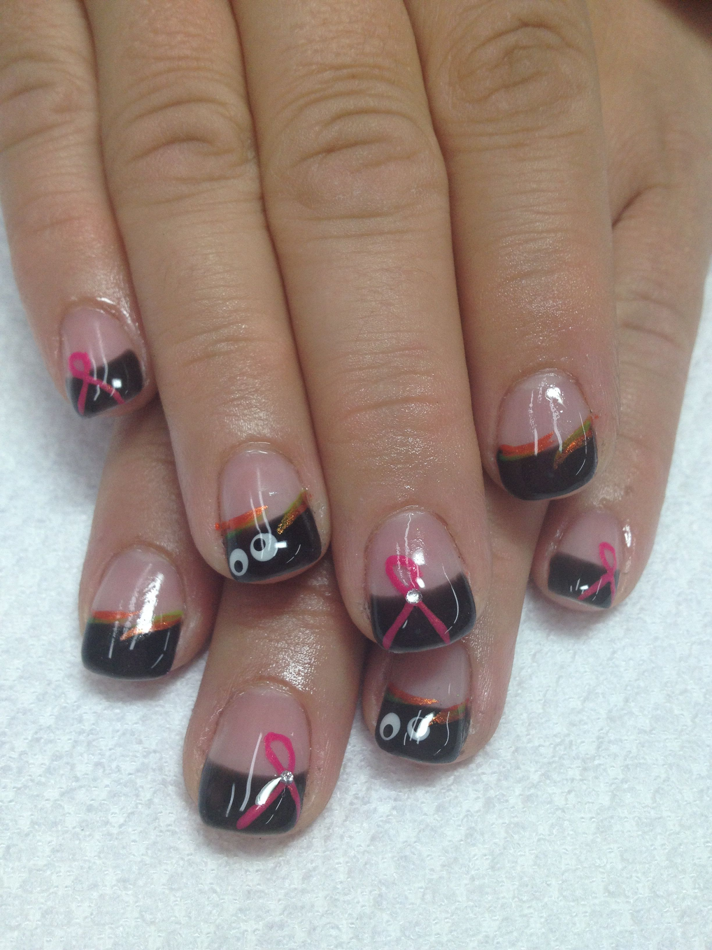 Halloween & Pink ribbon nails!! What a combo black French ...