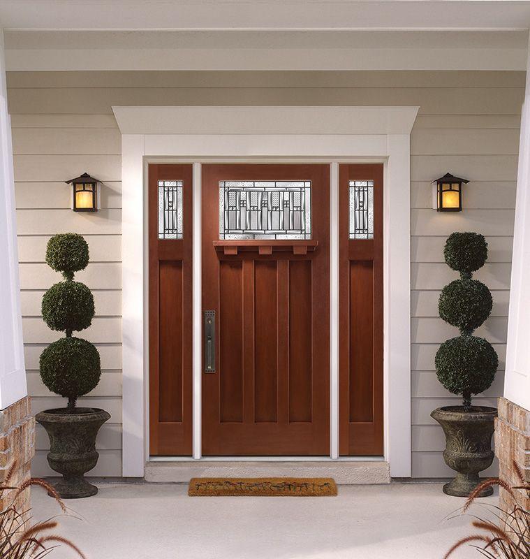 Masonite Barrington Mahogany Textured Fiberglass Door Bc4 Glass Insert Craftsman Exterior Door Craftsman Door Craftsman Front Doors