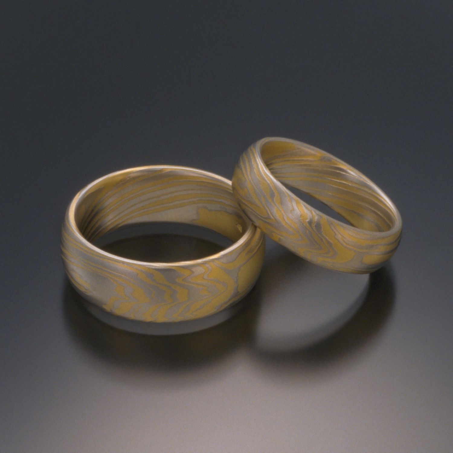 TERRA Platinum And Gold Mokume Gane Wedding Bands Are Classy Masculine The Amazing Organic Pattern Flows Around Ring From Detailed Figuring To More