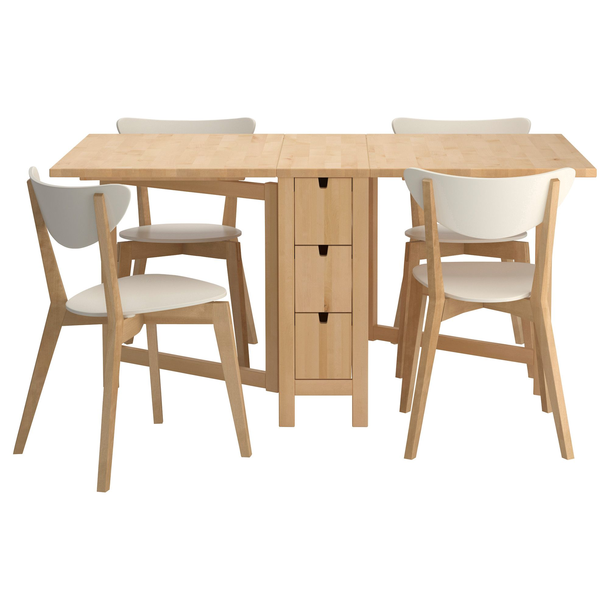 Furniture Beautiful Maple Wood Veneer Foldable Console Dining Table Set Chair With White Padded Seat Design Ideas Folding