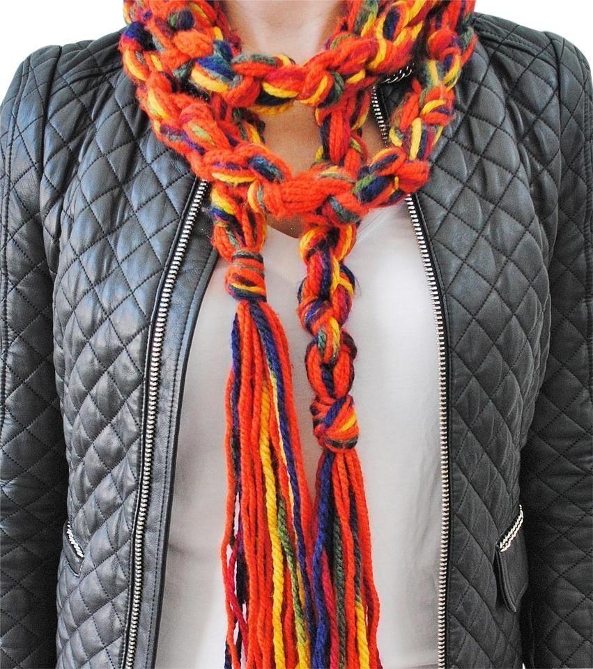 Photo of Tradesy | Orange Red Belt Crochet Macrame Tassels Maximalism Scarf/wrap