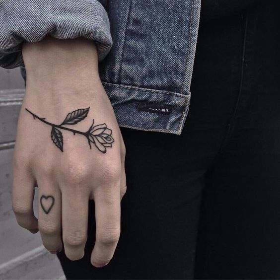 Aesthetic Small Rose Tattoo On Hand