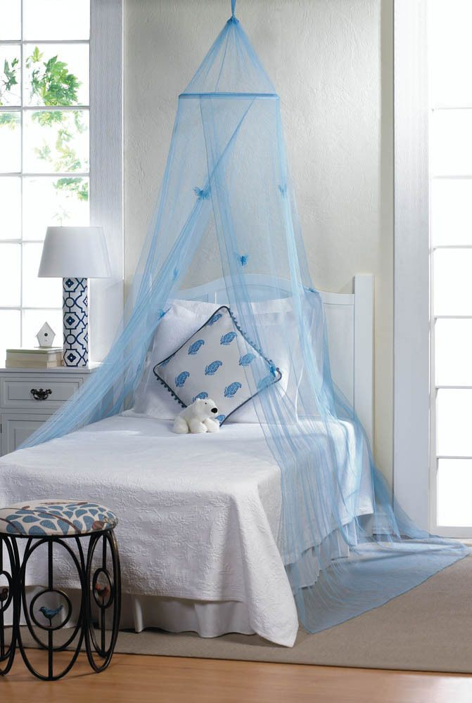 Blue Princess Girls Bed Tulle Canopy Mosquito Net Netting Bedroom Bed Curtain Butterfly Bedding Kids Bed Canopy Blue Bedding