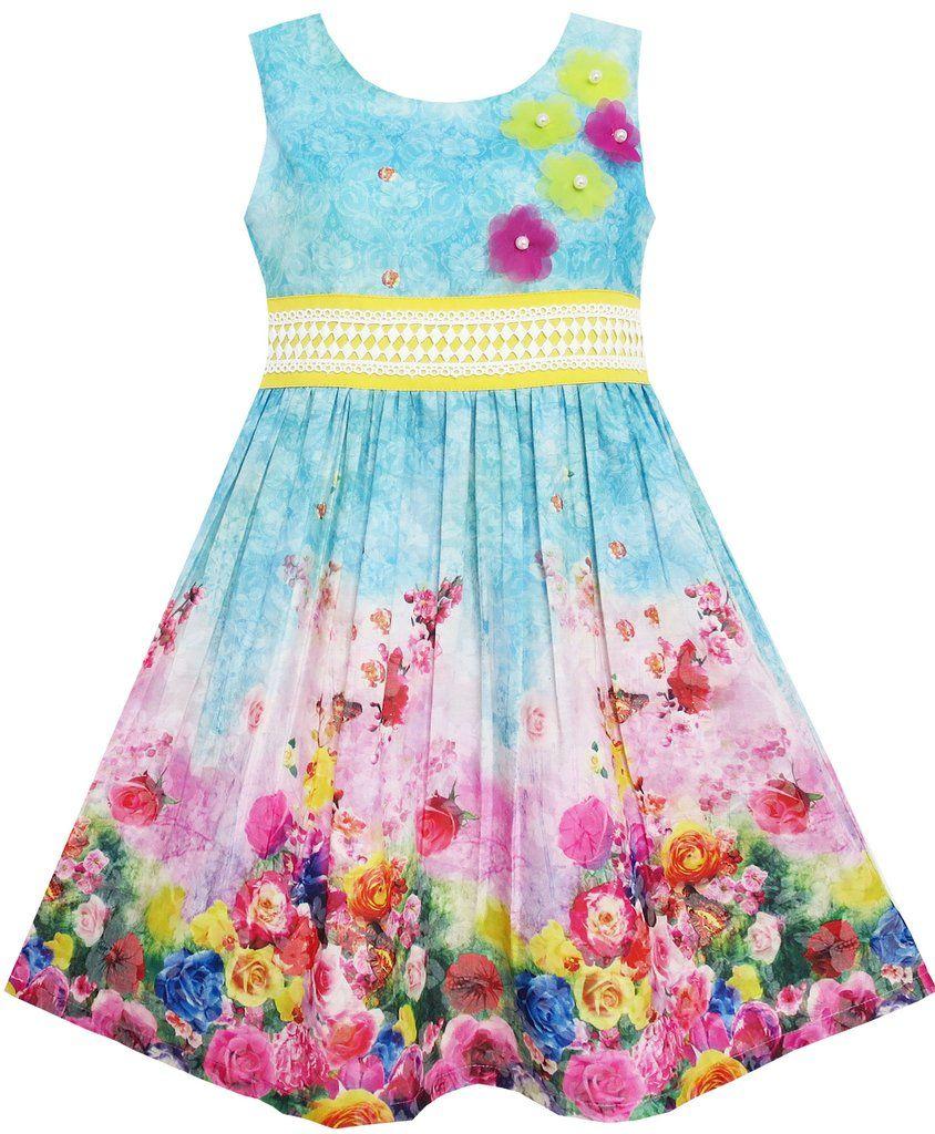 Girls Dress Blooming Rose Garden Flower Print Sleeveless Blue Size 4 ...
