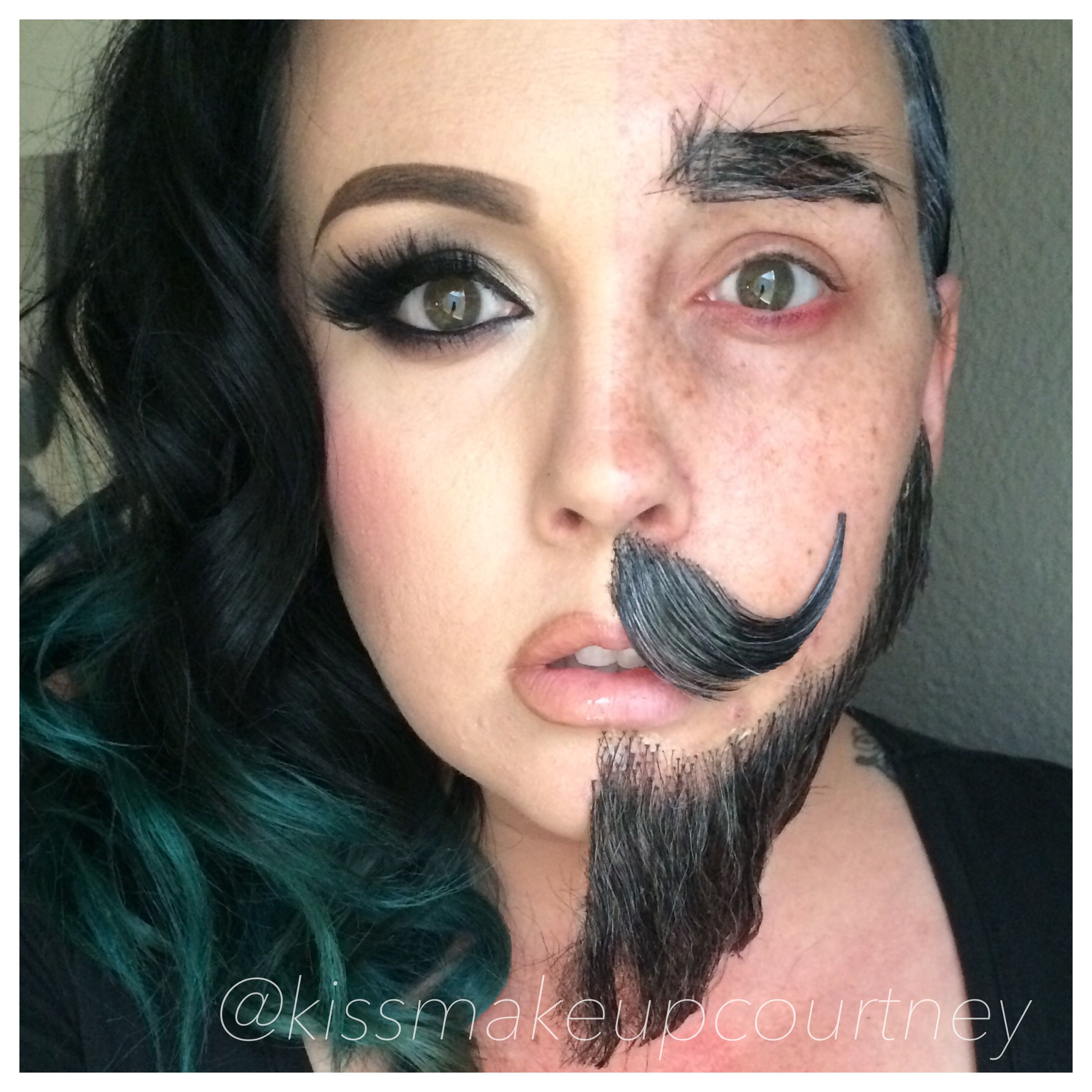 Half man half women makeup Halloween bearded lady | Makeup Morgue ...