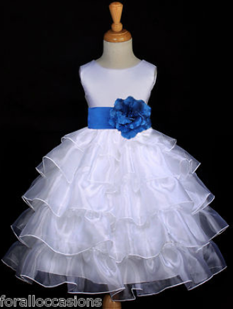 0024fdf8116 This is the front of the flower girl dress (back shown on another pin) --  in Royal Blue (same as Horizon) and White.