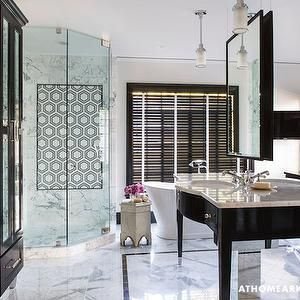 Hidden Hampers Contemporary Bathroom Mark Williams Design Contemporary Bathrooms Free Standing Tub Black Cabinets Bathroom