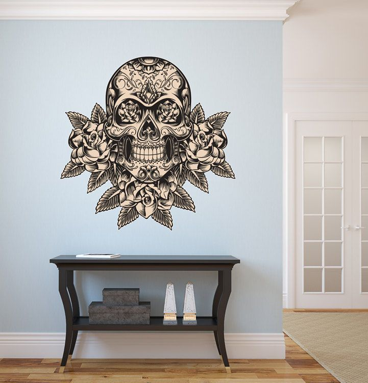 LARGE Day of the Dead Sugar Skull Sticker Decal