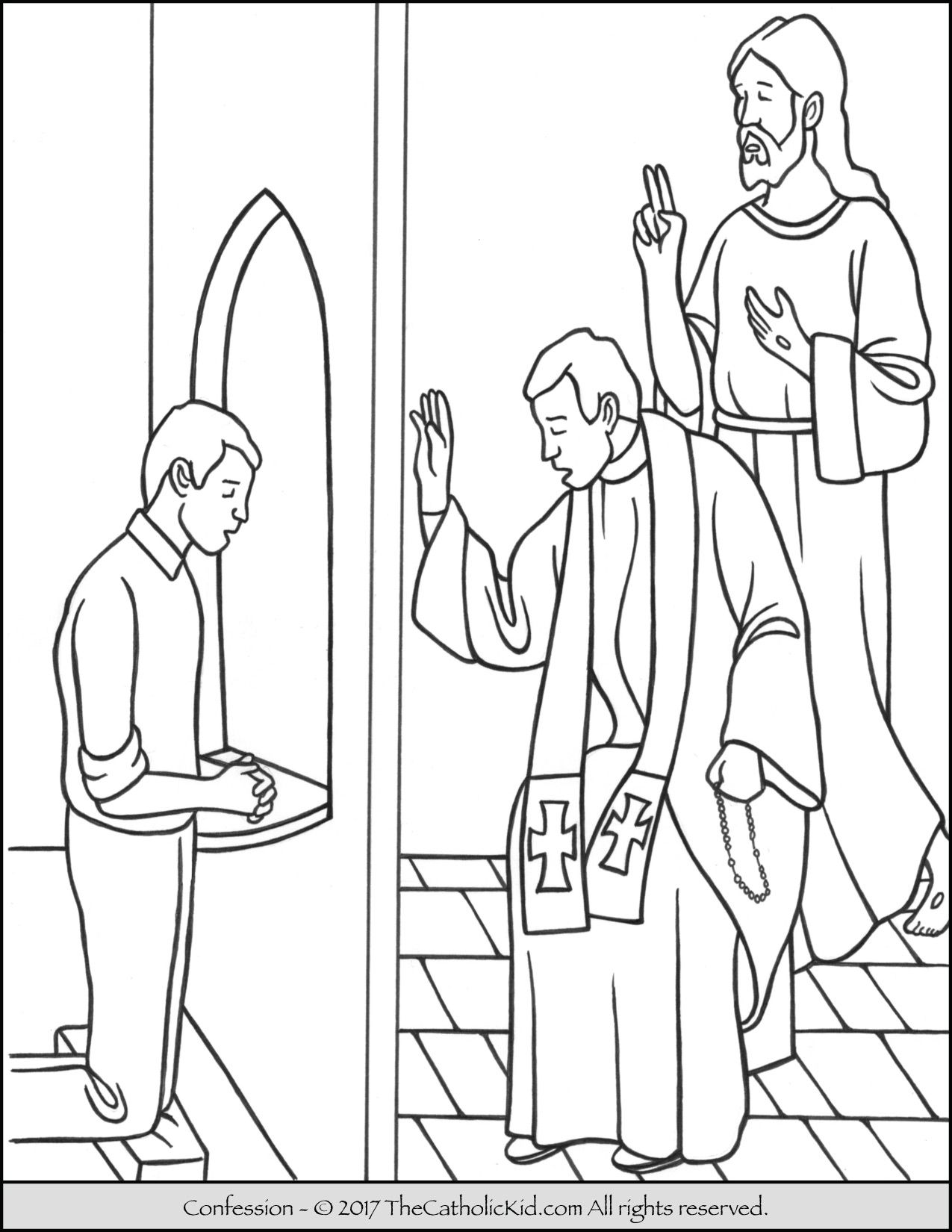 Sacrament Of Confession Coloring Page Catholic Sacraments Catholic Coloring Jesus Coloring Pages