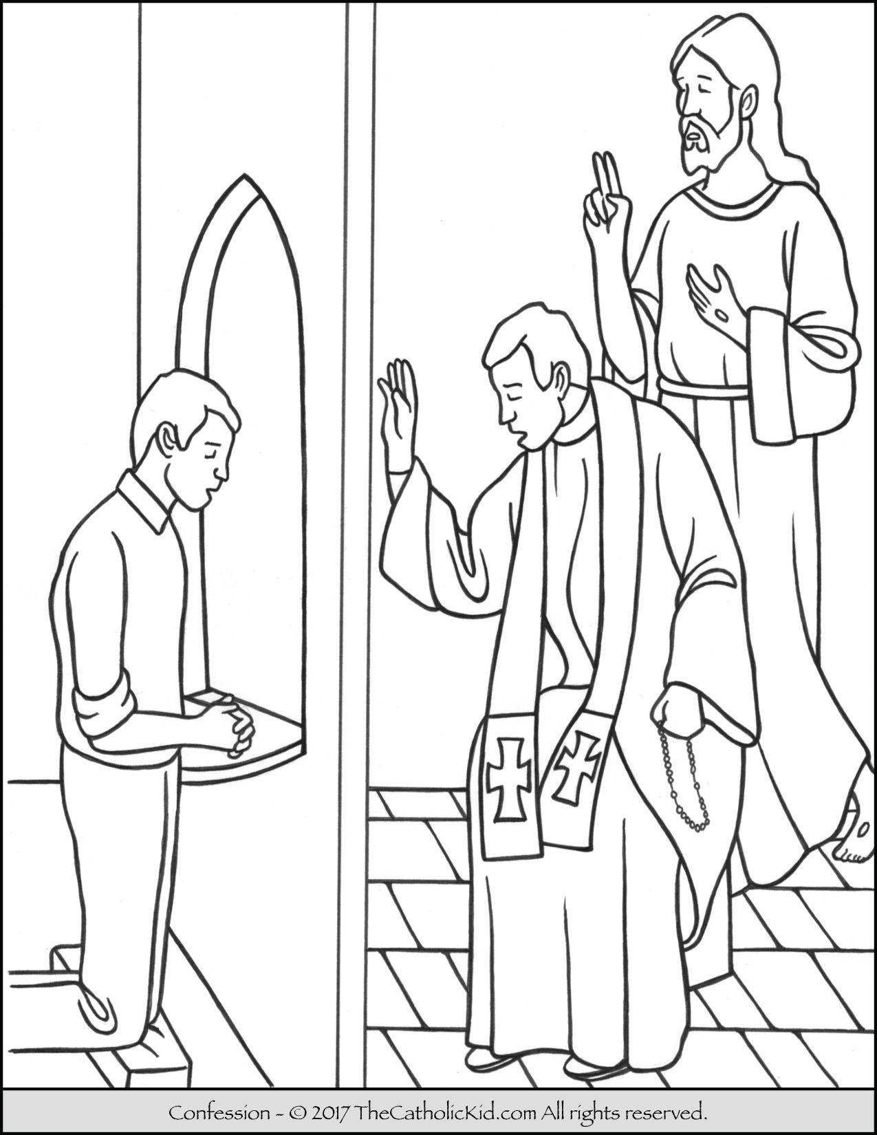 Sacrament of Confession coloring page.   Sacrament Coloring Pages ...