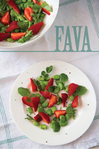 Fava Strawberry Watercress Salad from @Greg Takayama Henry | Sippity Sup