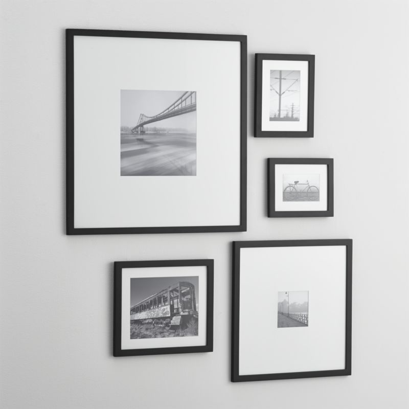 5 piece matte black picture frame set - White Frame With Mat