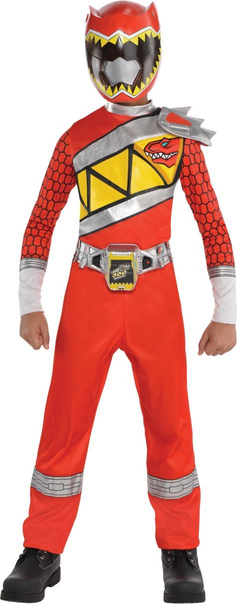 Boys Red Ranger Jumpsuit Costume Power Rangers Dino Charge Party