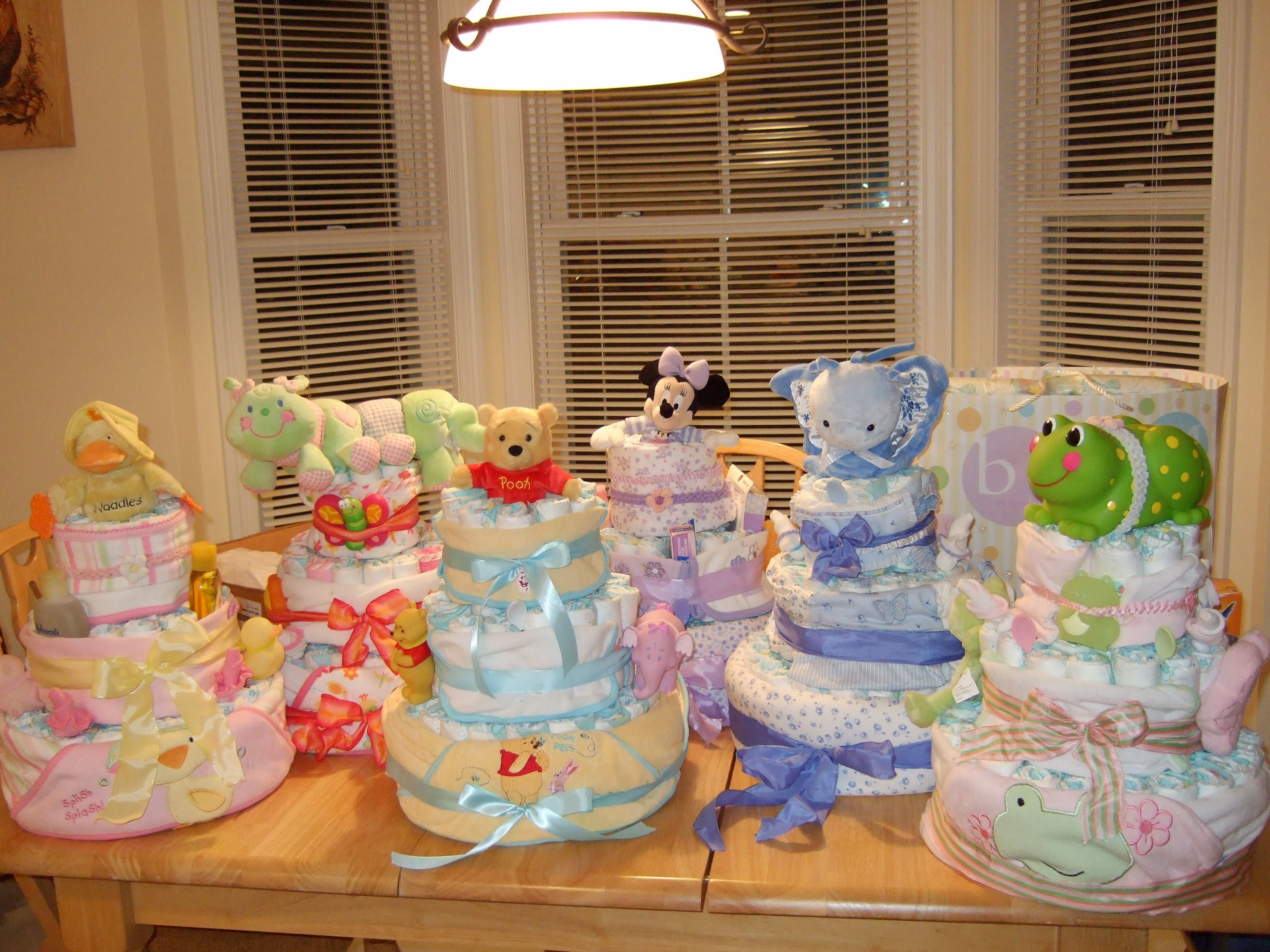 Diaper cakes I made to be centerpieces at a baby shower
