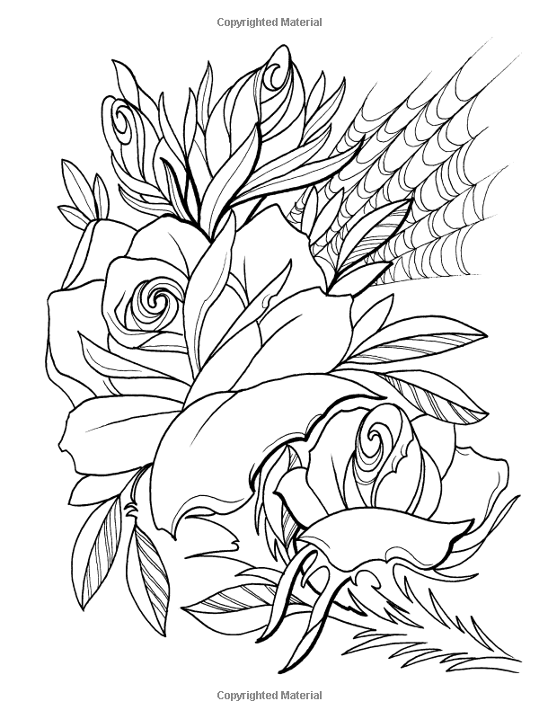 Creative Haven Floral Tattoo Designs Coloring Book Books Erik Siuda