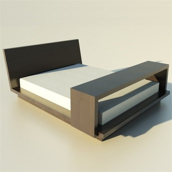 Wooden Bed And Movable Table Bed Interior Minimalist Bed