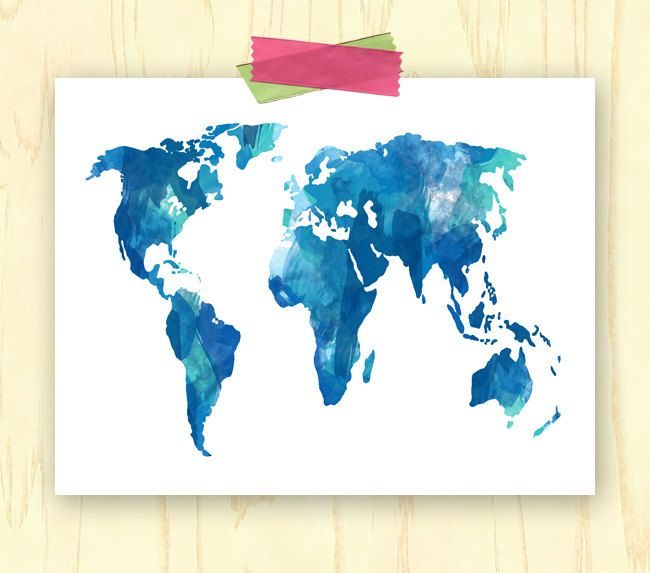 Watercolor world map digital wall art print by kgomezdesigns 500 watercolor world map etsy gumiabroncs Images