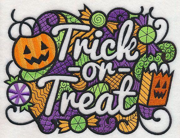 Trick or Treat (Blackwork) design (L5888) from www.Emblibrary.com