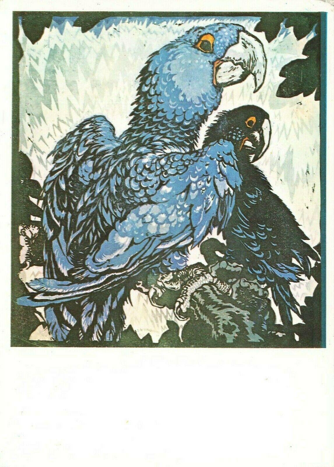 Art Postcard Zwei blaue Ara Two Blue Macaws by Ludwig Heinrich Jungnickel IO4