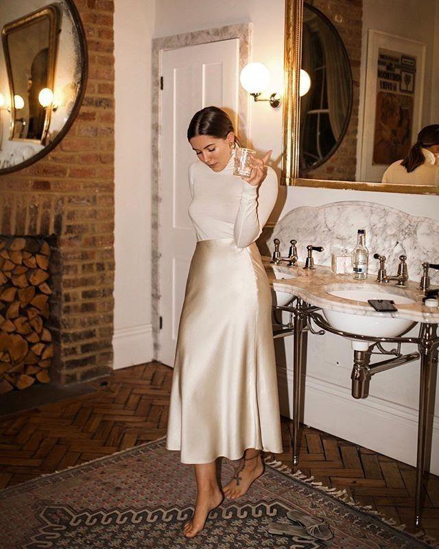 Ivory slip silk skirt TWO layers 100% real silk slip midi a-line skirt women skirt cream bias cut sl