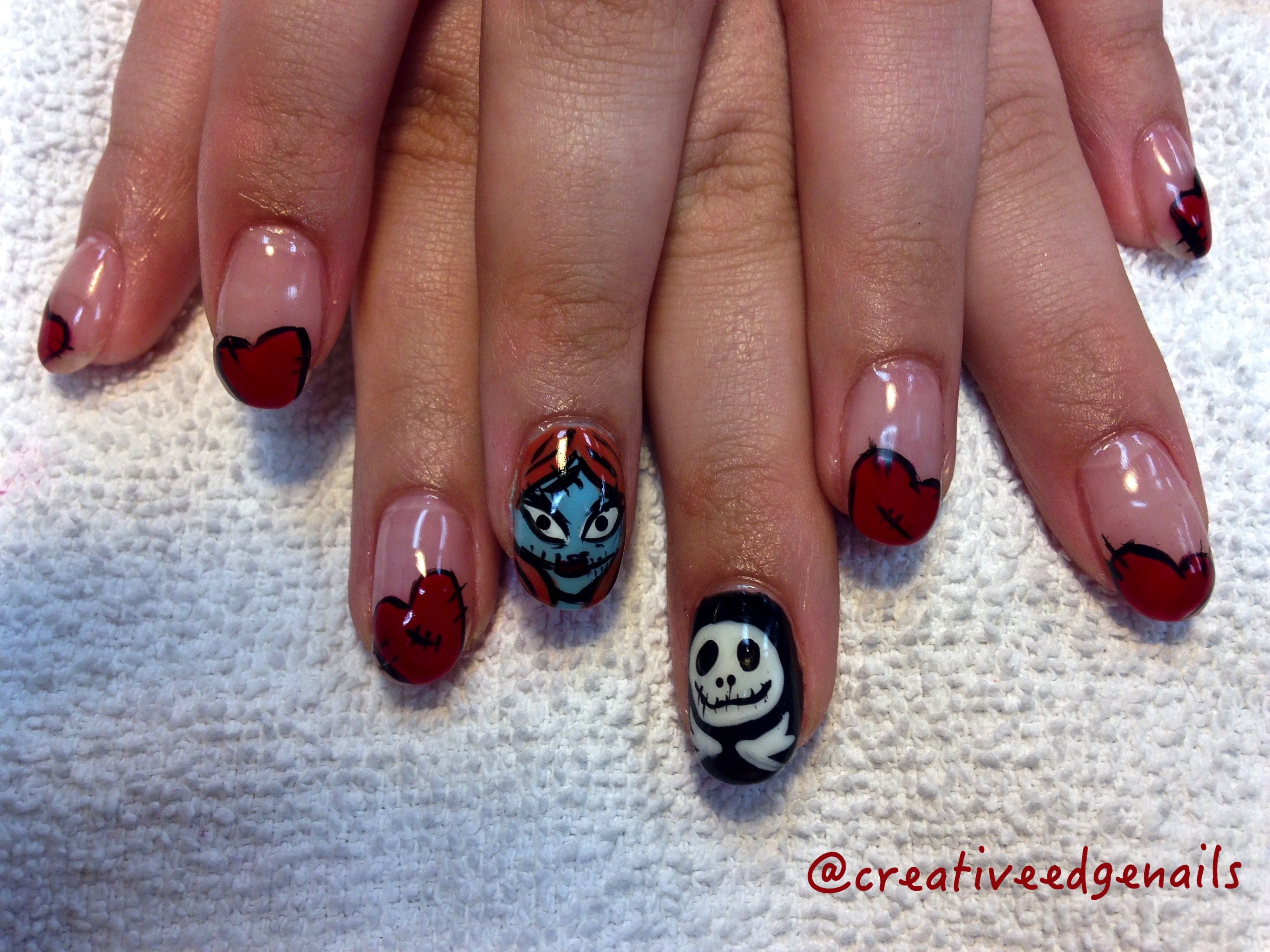 Nightmare Before Christmas Valentine Nails | nails | Pinterest