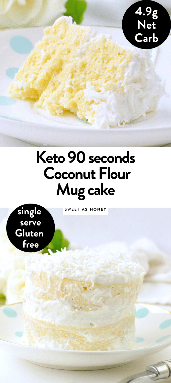 Coconut flour mug cake - keto single birthday cake - Sweetashoney