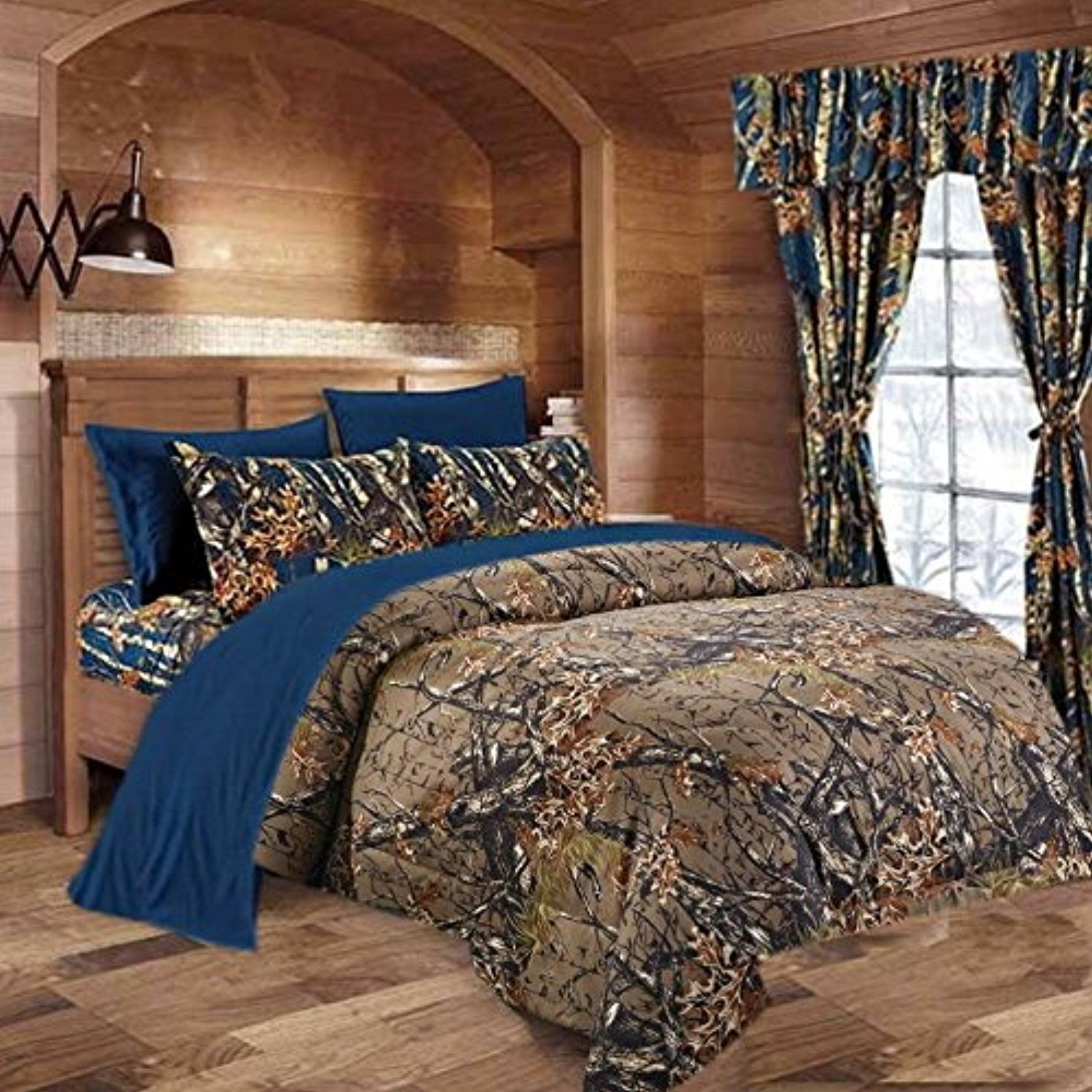 12 pc Lime Woods Camo King Size Comforter sheets pillowcases and curtains set