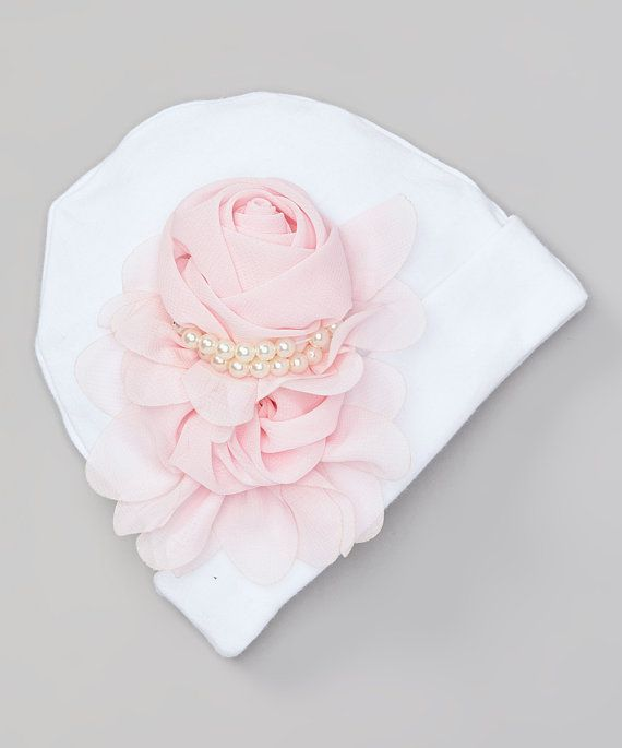 ee1bbbc4ece White Infant Baby Girl Beanie Hat with Chiffon Flower and Pearls ...