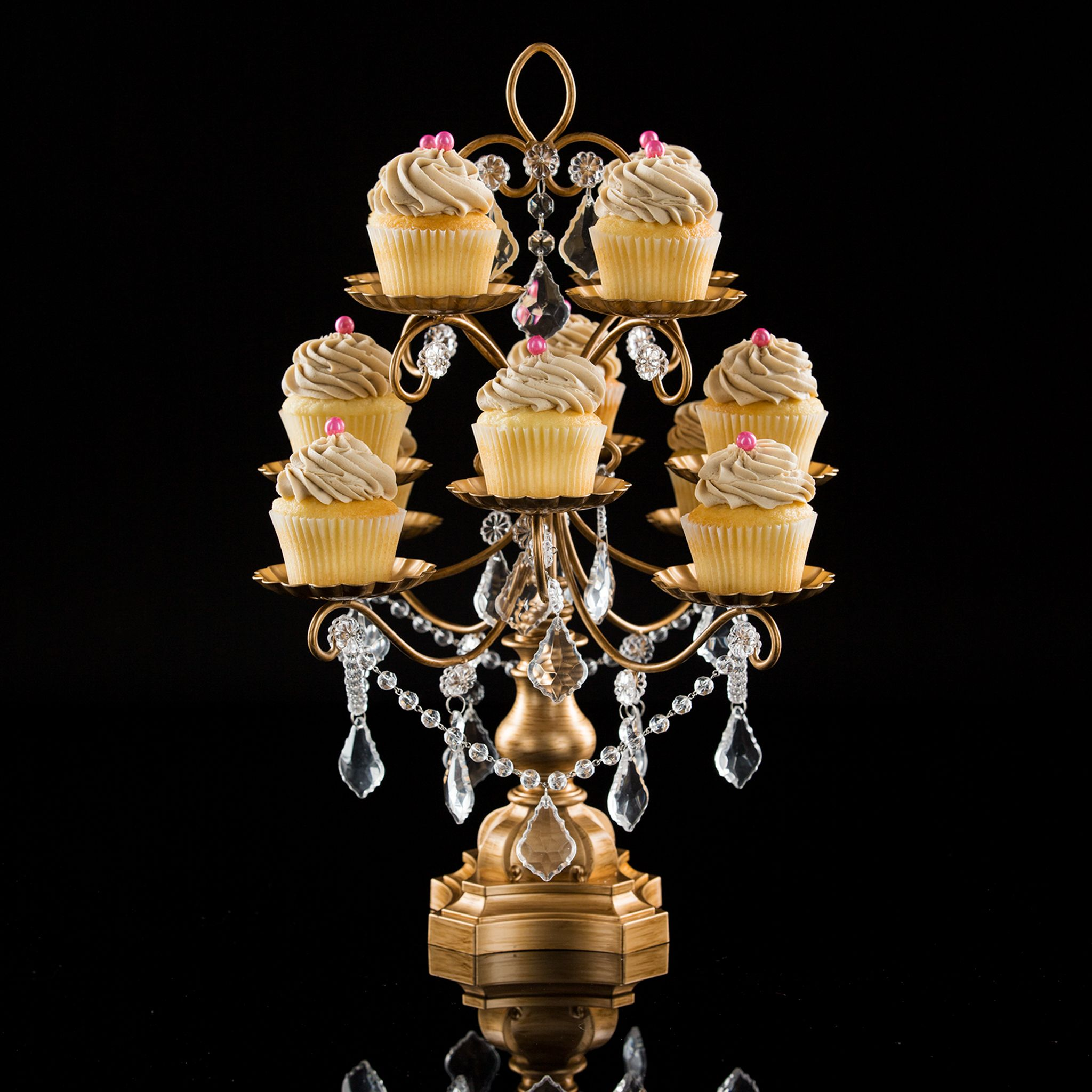 12piece vintage crystaldraped cupcake stand gold