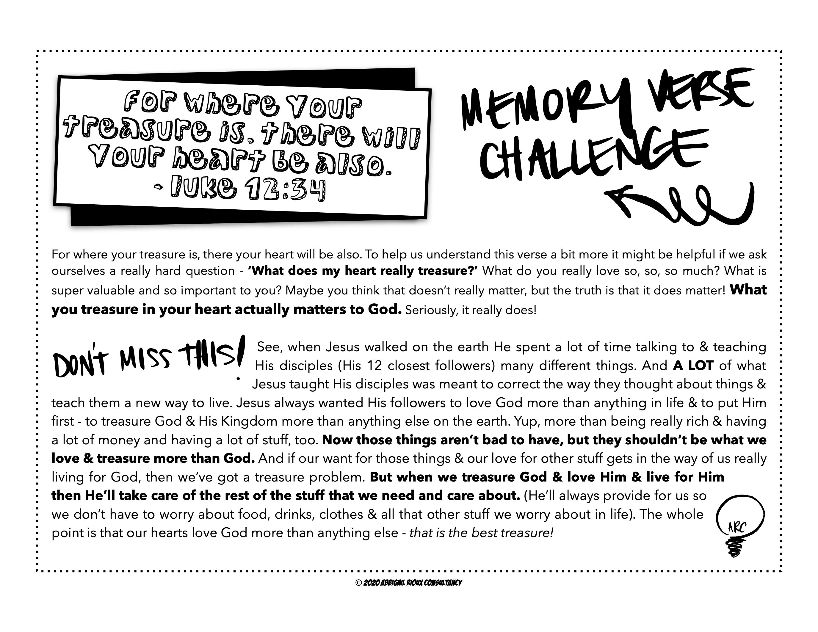 Kids Memory Verse Devotional Worksheet