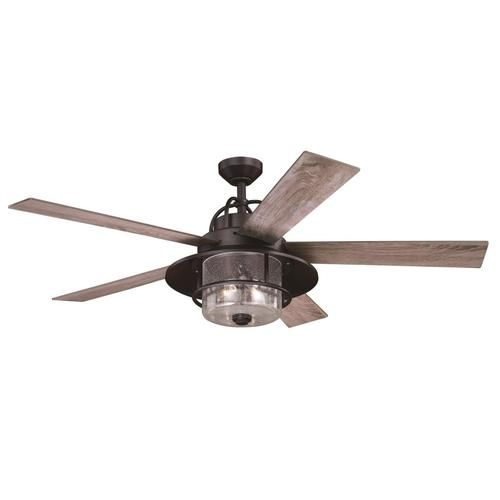 Cascadia Charleston 56 In New Bronze Led Indoor Ceiling Fan With Light And Remote 5 Blade Lowes Com Outdoor Ceiling Fans Ceiling Fan With Light Farmhouse Ceiling Fan