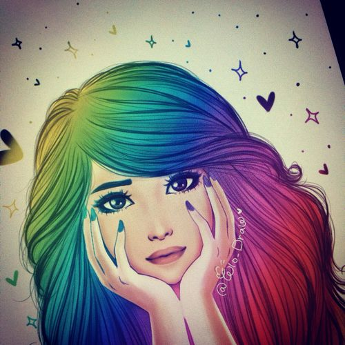 Girl with colored hair drawing pinteres for Beautiful drawings for girls