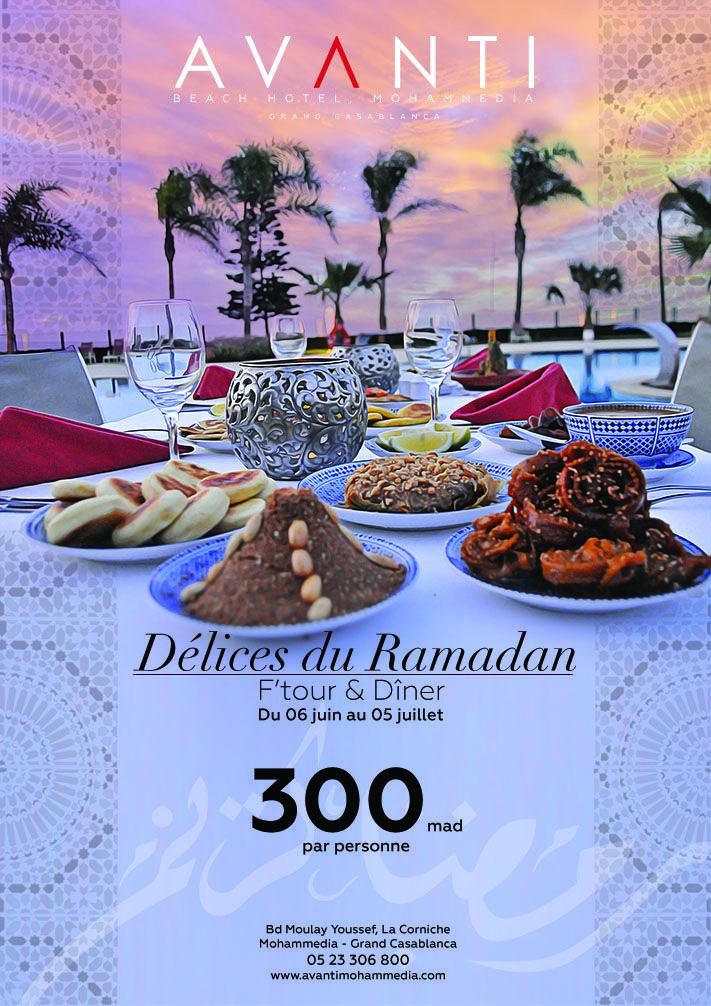 A l'occasion du mois Sacré de Ramadan, AVANTI Beach Hotel, Mohammedia lance un programme exceptionnel de soirées qui se dérouleront dés la rupture du jeûne jusqu'à minuit.