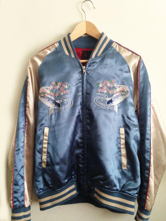 097ada0ca77 Vintage Japanese Embroidered Bomber Jacket, unisex, mens, womens,koi fish,  letterman, satin