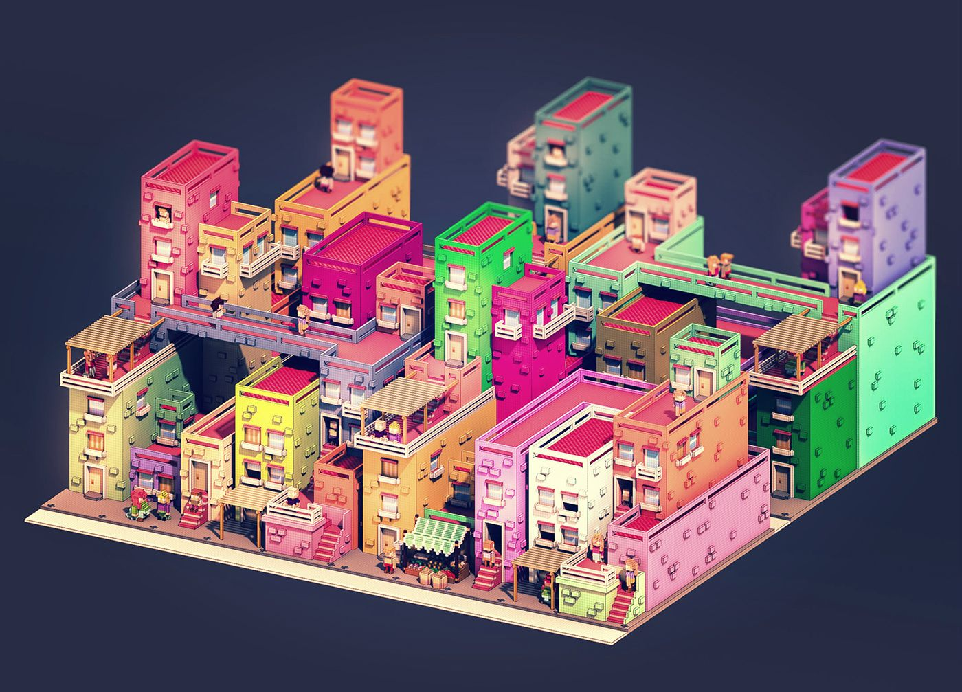 A Colorful And Chaotic City Made In Voxels In 2019 Art