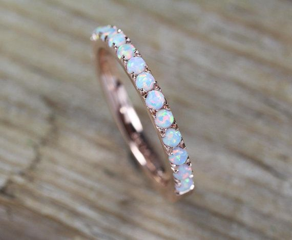 Opal Eternity Band Rose Gold Opal Ring Eternity Wedding Etsy Opal Wedding Rings Opal Ring Gold Rose Gold Opal Ring