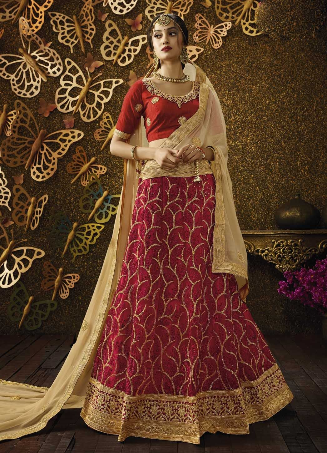 2c7929e64f Red Lehenga Choli, Net Lehenga Choli, $124.94. Buy latest Lengha choli with  custom stitching and worldwide shipping.