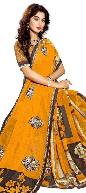 701914 Yellow  color family Embroidered Sarees, Party Wear Sarees, Printed Sarees in Faux Chiffon fabric with Lace, Machine Embroidery, Patch, Printed, Stone, Thread work   with matching unstitched blouse.