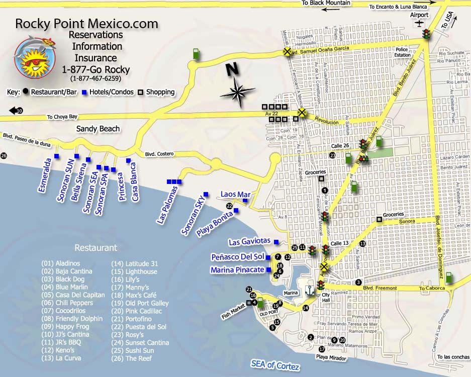 Rocky Point Mexico Novel Inspiration Borderline Pinterest: Mexico Rocky Point Map At Infoasik.co