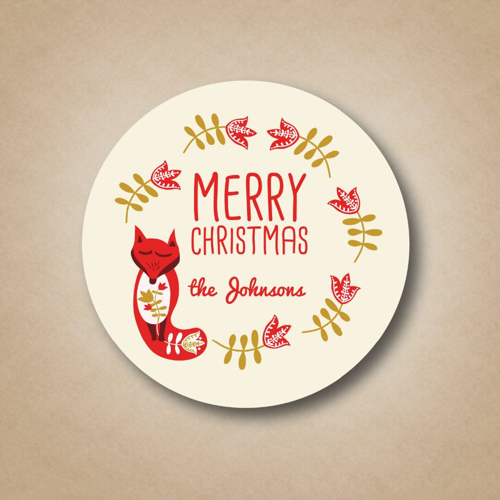 christmas personalized printing labels happy new year custom stickers printed logo xmas round label gift tag