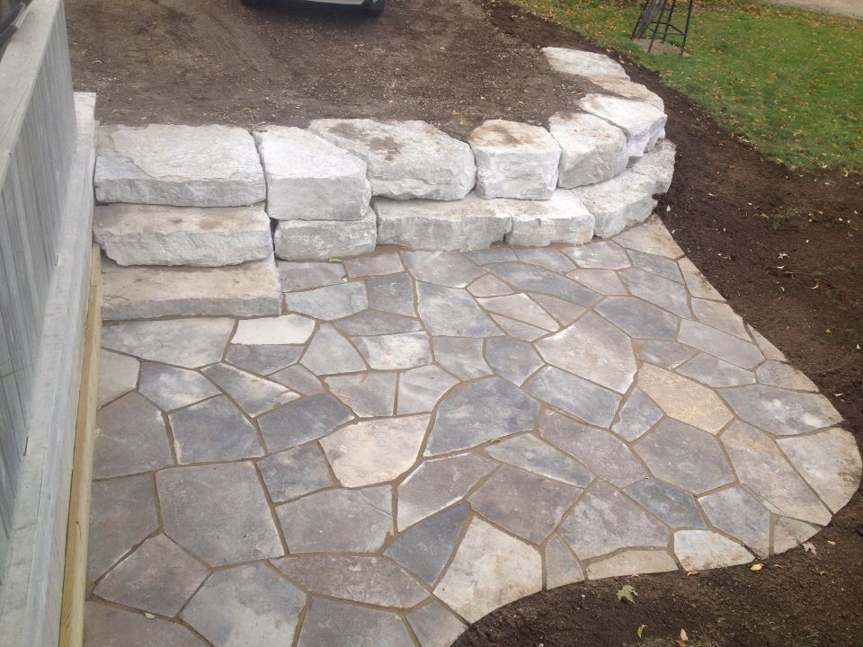 Flagstone Patio, Armour Stone Wall, Stone Steps