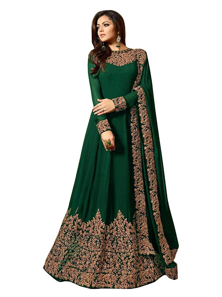 ba685e691 Beautiful Look Green Color Georgette Embroidered Semi-Stitched Salwar Suit