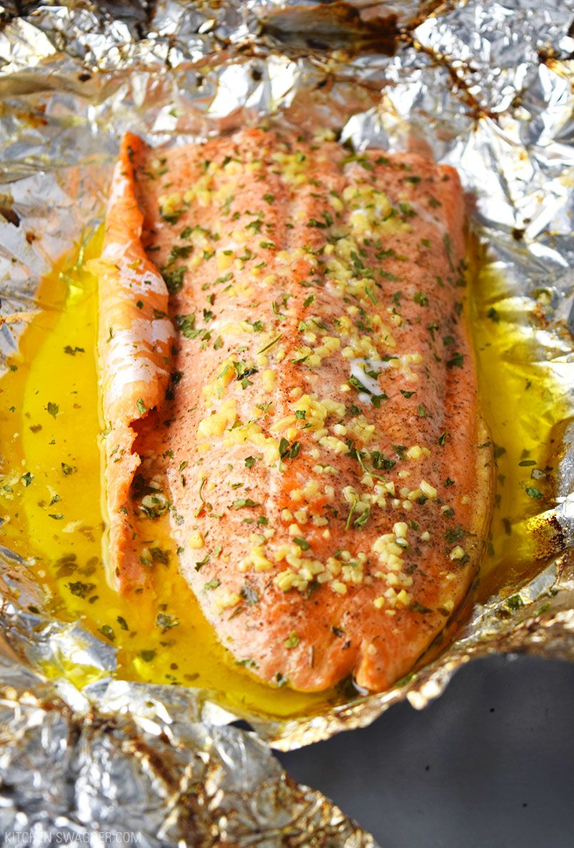 Garlic Er Steelhead Trout In Foil