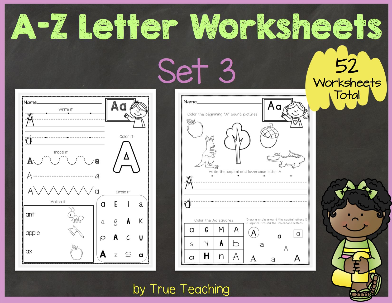 worksheet Alphabet Worksheet Set Letters Az a z letter worksheets set 3 and by true teaching