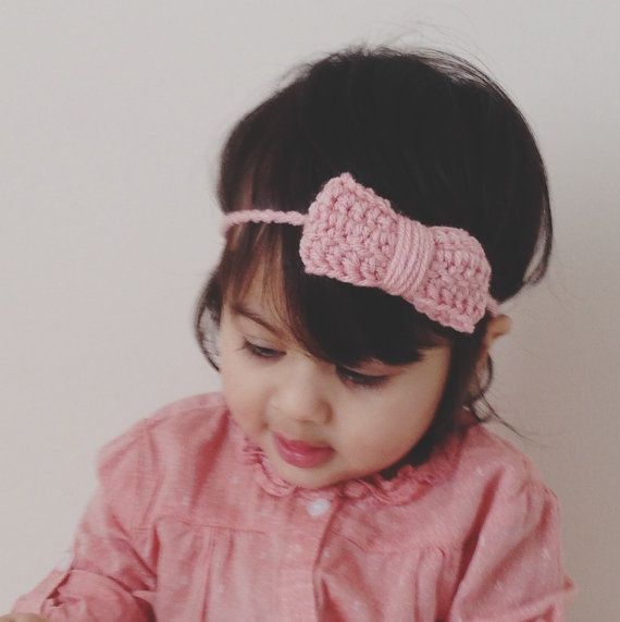 3 Crochet Bow Headband For Babies Toddler By Colormecraft On Etsy 20 00 With Images Headbands Crochet Bows Bow Headband