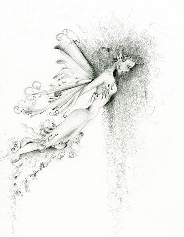 Fairy art ooak pencil drawing orginal fantasy drawing let go faery pencil drawing black and white fine art
