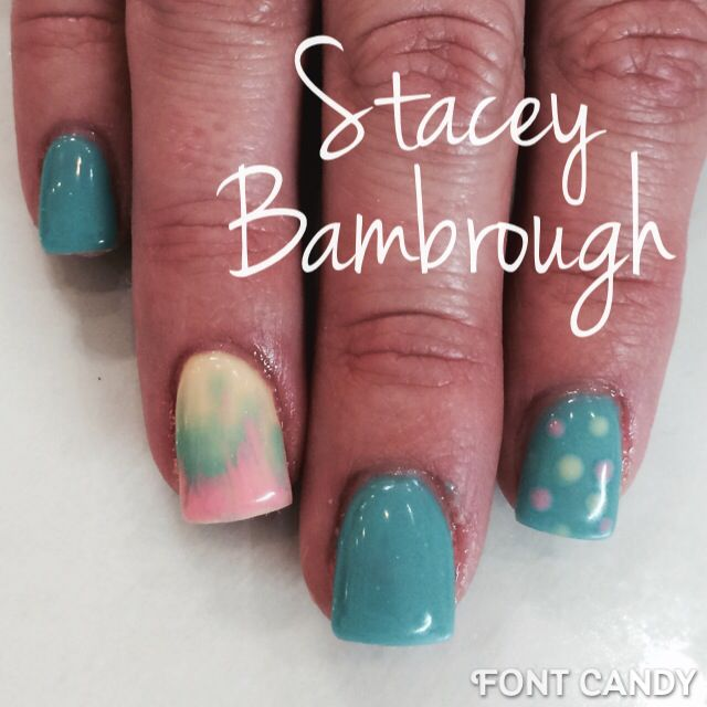 teal yellow and peach gel nail