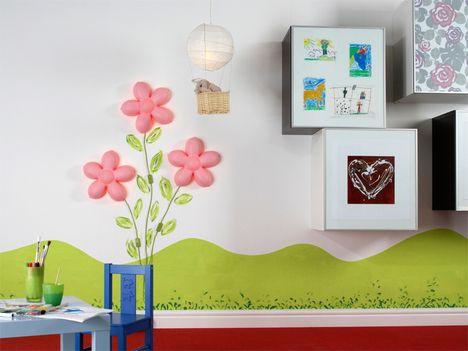 wand streichen ideen schablone muster babyzimmer lila weiss ... | {Kinderzimmer deko ideen 62}
