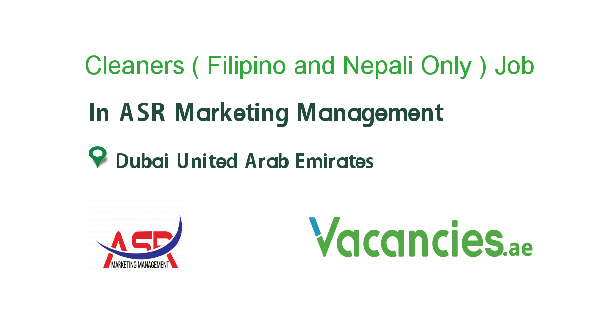 Cleaners Filipino And Nepali Only In 2020 Marketing Manager Job Filipino