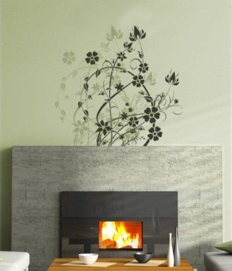 per pareti: stencil e pittura - Decorazione parete con stencil, fiori